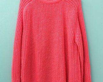coral oversized knit sweater. O/S.