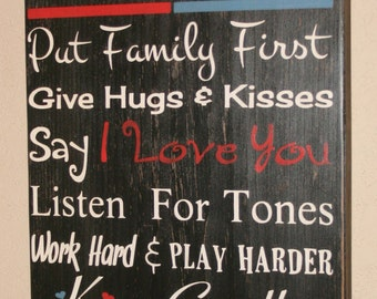 Firefighter/EMS House Rules, Firefighter/EMS Decor, Distressed Wall Decor, Custom Wood Sign, Firefighter - In This Firefighter & EMT Home