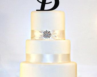"""6"""" Monogram Acrylic Wedding Cake Topper in Any Letter A B C D E F G H I J K L M N O P Q R S T U V W X Y Z"""
