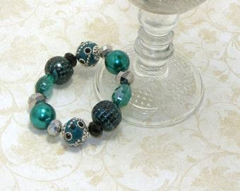 Beautiful Aqua Green And Silver Beaded Bracelet, Chunky Elastic Bracelet,