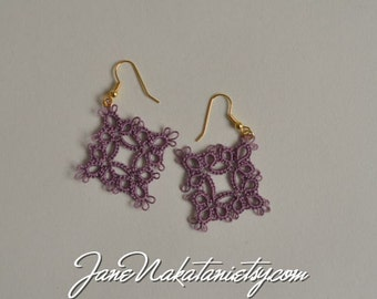 tatting lace earrings -Antique Violet-