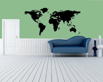 World Map wall decal, World Map Travel Vinyl Wall Art Decor for Bedroom, Office, Study, Children Geography ,World Map Wall Sticker art