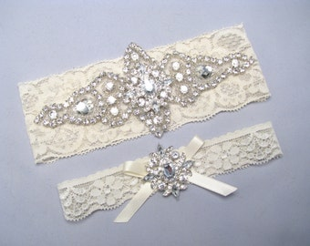 Wedding Garter, Crystal Rhinestone Bridal Garter Set, Lace Garter, Ivory / White Garter, Keepsake / Toss Garter, Plus Size or Petite Garter