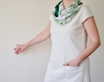 Green Circle Scarf, Nature Scarf, Floral Boho Scarf, Two Sided Loop Scarf, Infinity Scarf, Cotton Scarf, Women Scarf, Watercolor Foulard