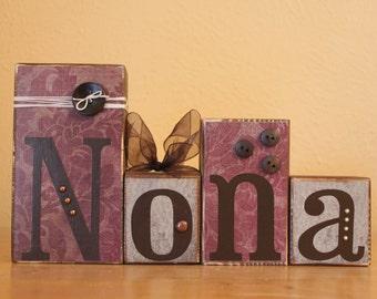 Nona Birthday Gift- Gift for Nona Wood Blocks- Grandma Personalized Gift- Nona Gift- Nona Sign- Custom Wood Blocks- Personalized Wood Blocks