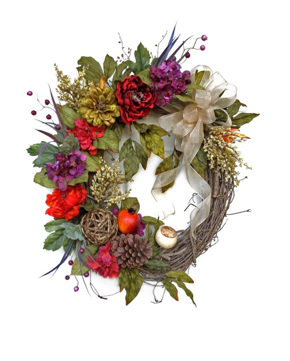 Silk Floral Wreath Front Door Wreath Grapevine Wreath Door