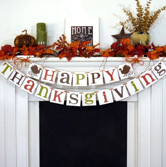 thanksgiving decorations banner happy by bannercheerjr on etsy