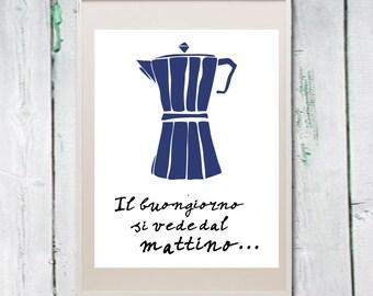 Coffee print kitchen art Italian quote Instant download digital file wall art (nr. 19)