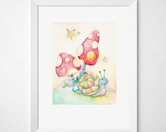 Snail Nursery Print - Woodland Nursery Print - Snail Kids Art Print - Snail Baby Art