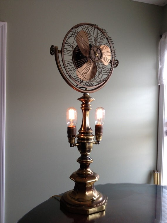 Handmade Steampunk Brass Light Fan Made From Antique Vintage