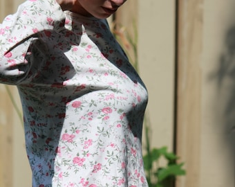 Dainty white cotton top with pink floral pattern