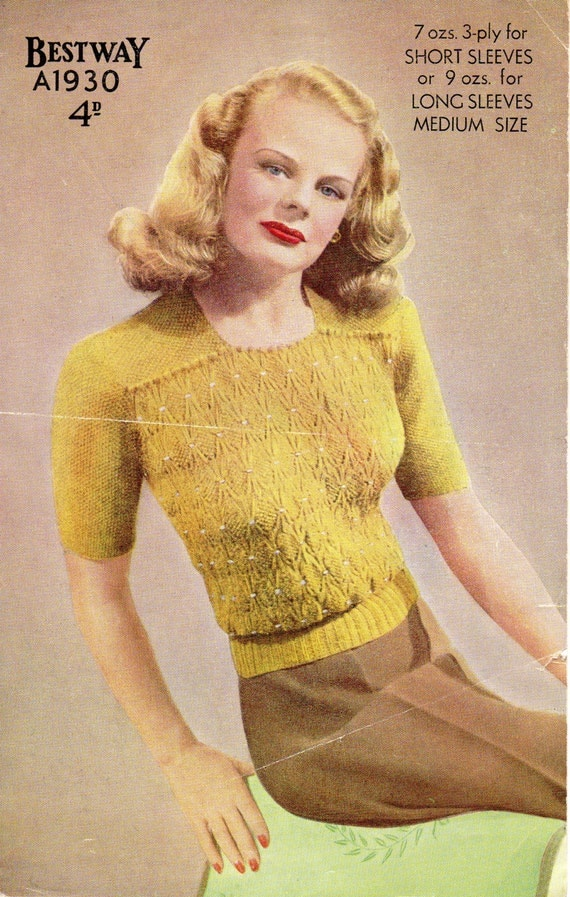 Knitting Pattern Jumper Ladies : Ladies Jumper PDF Vintage Knitting Pattern No. A1930