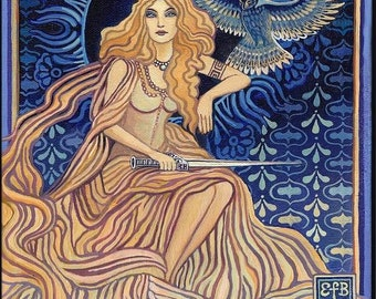 Minerva Roman Goddess of Wisdom 11x14 Fine Art Print Pagan Mythology Bohemian Goddess Art