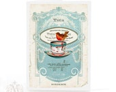 Christmas card, Robin on a teacup, French vintage style holiday card in blue, white, red, blank inside