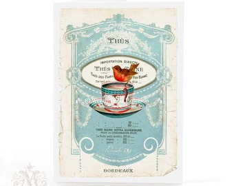 Christmas card, Robin,  vintage teacup, French, tea, Holiday card, blue, white, red, vintage style, greeting card, blank inside