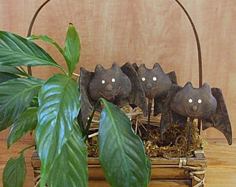 Primitive Halloween Bat Stick Plant Poke Ornament Decoration