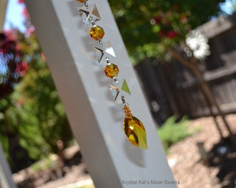 Gold Leaf Rainbow Crystal Suncatcher to Hang in Your Home, Patio, Sunroom, Magical Dancing Rainbows, Earthy, New Leaf