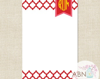 Personalized Notepad - QUATRAFOIL Collection - Monogram Notepad