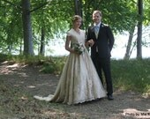 Champagne Country Wedding Dress with Cap Sleeves Vintage Inspired