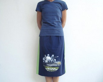 Notre Dame TShirt Skirt Womens Tee Skirt Navy Blue Green Cotton Skirt Soft For Her Handmade Skirt Ecofriendly Clothing Autumn Skirt ohzie