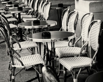 Black and White Paris Photography - Cafe Photograph - Bistro Tables Photo Print - French Decor Kitchen Wall Art Classic Parisian