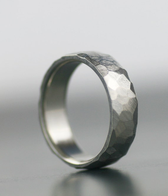 Faceted Wedding Band Mens Womens