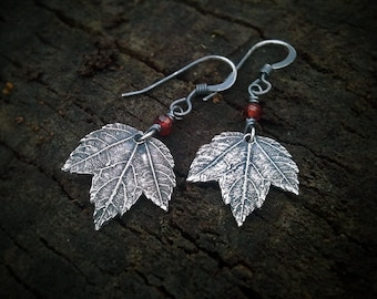 Acer - Tiny Maple Leaf - Garnet - Fine Silver Real Botanical Leaf Earrings  by Quintessential Arts