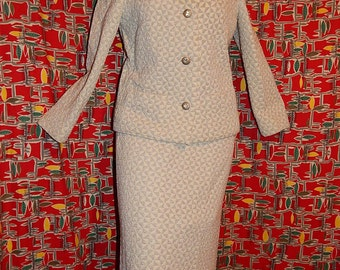 3 piece suit - vintage 60's cream silver knit triangles mod space age op art jacket skirt top with rhinestones Jackie O by Kimberly - M