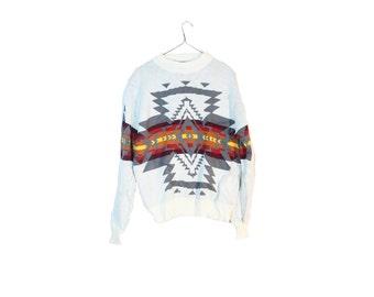 Vintage Southwestern Sweater Vintage Navajo Tribal Print Native American Size Medium Large White Pendleton Print