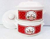 1960s Advertising Campbell Soup Bowls Covered Dish Chili Serving Dishes with Lids Red White
