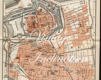 Antique 1910 Calais Map