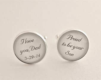 PERSANOLIZED Father of the Groom Cufflinks Dad CUFFLINKS Dad Gift WEDDING  Proud to be your Son, I love you Dad Father of Bride Cufflinks