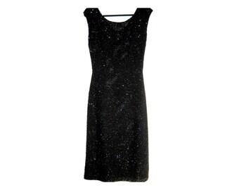 Vintage 1960's Black Dress Black Sequin Wiggle Dress Size Medium/Large GORGEOUS