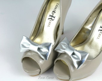 Silver Shoe Clips, Metallic Silver Bow Shoe Clip