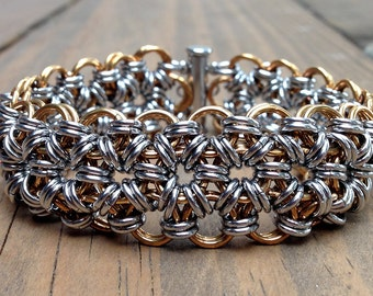 Mens Stainless Steel and Jewelry Brass Chainmaille Bracelet, Japanese 12-in-2, 8 Inch, 18 Gauge