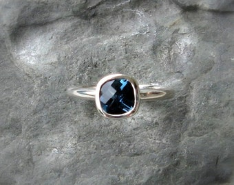 London Blue Topaz 14k Gold Ring, Cushion Cut Gemstone, White Gold, Yellow Gold, or Rose Gold, Gift for Her, MiShelli