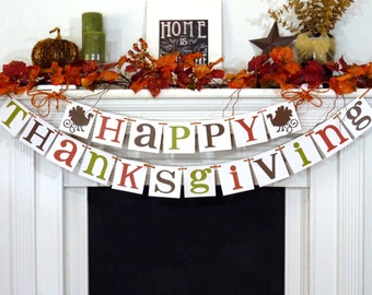 Thanksgiving Decorations Banner - Happy Thanksgiving Sign - Thanksgiving Decorations - Holiday Decorations - Give Thanks - Turkey Dinner