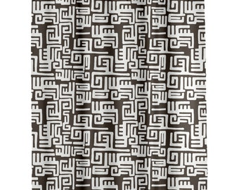 Bathroom shower Curtains Custom    Modern African Shower Curtain Charcoal Gray in Kuba Cloth Design  Long Shower Curtain