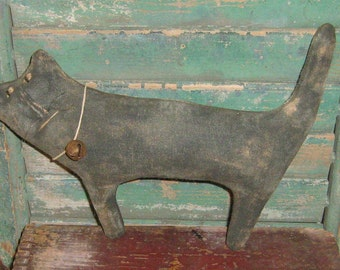 Extreme Primitive Black Cat, Rustic Decor, Primitive Cat, Autumn Decor, Primitive Halloween Cat, Handmade in the USA