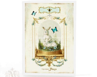 Rabbit card with a vintage Victorian glass display cloche