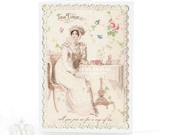 Jane Austen, card, Regency lady, tea card, vintage wallpaper, roses, paper lace border, birthday card, blue birds, high tea, tea time