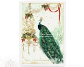 Peacock, Christmas card, gold chandelier, holly, red berries, mistletoe, dreaming, gold crown, holiday card, green, red