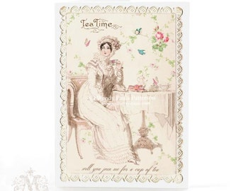 Jane Austen, card, Regency lady, tea card, card for her, birthday card, friendship card, vintage wallpaper, roses, high tea, tea time