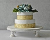 """16"""" Rustic Cake Stand Cupcake Whitewash Vintage Country Grooms Cake Wedding Decor E. Isabella Designs Featured In Martha Stewart Weddings"""