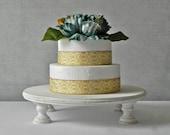 "14"" 14 inch Rustic Cake Stand Round Whitewash Wedding Decor Country Vintage Wedding E Isabella Designs Featured In Martha Stewart Weddings"
