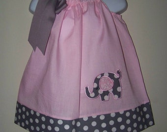 Elephant Pillowcase Dress / Pink & Gray Polka Dots / Cute / Newborn / Infant / Baby / Toddler / Girl / Birthday / Custom Boutique Clothing