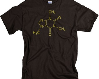 Coffee Shirt - Caffeine Molecule Funny Science  Chemistry Tshirt  for Men or Women - Geek Stocking Stuffers