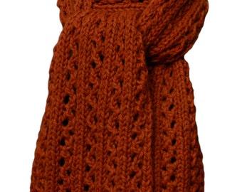 Hand Knit Scarf - Copper Alpaca Winding Trail