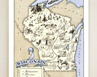 WISCONSIN MAP PRINT - gift idea - picture map wall decor - may be personalized - illustrated map - vintage map - beach house wall decor