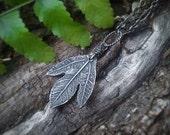 Sassafras albidum  -Ghost Leaf-  Fine Silver Real Botanical Elven Leaf Pendant  by Quintessential Arts
